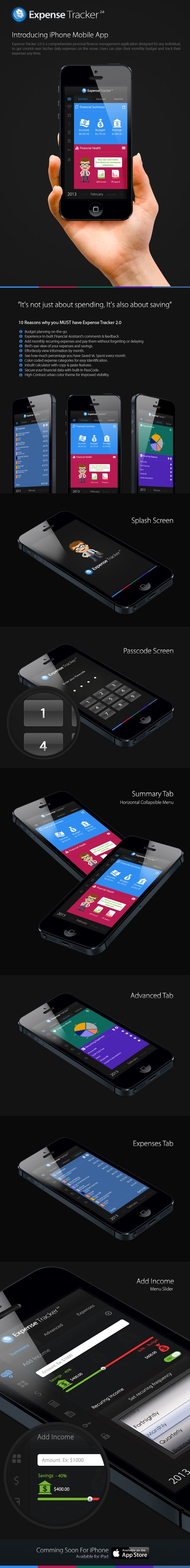 Expense Tracker 2.0 - iPhone App by ceffectz Designs, via Behance