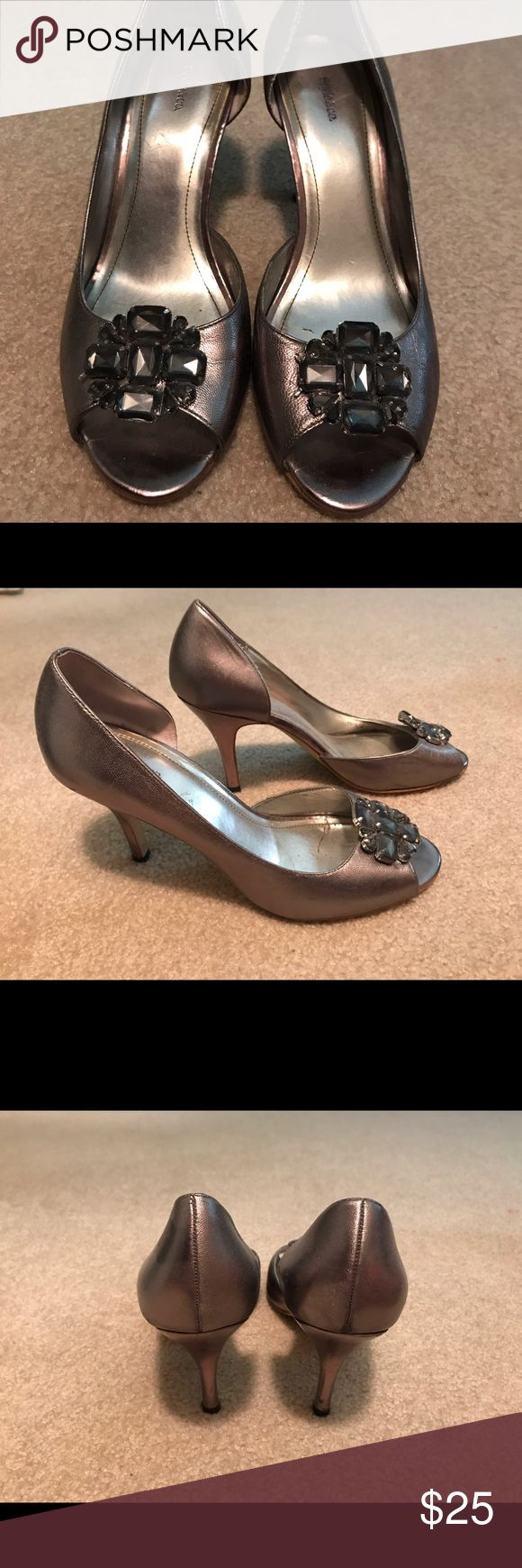 Metallic jeweled peep toe pumps Very cute shoe. Worn once for a wedding and haven't had a reason to wear since. Style & Co Shoes Heels