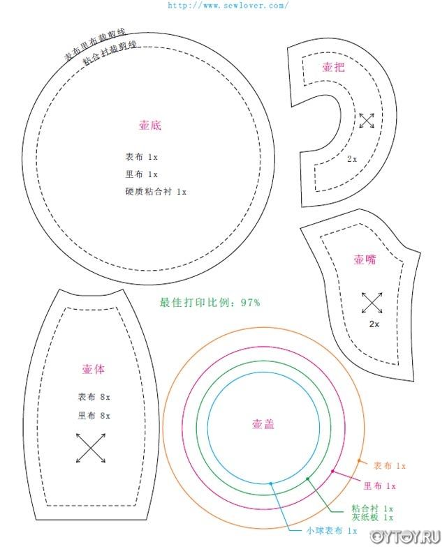teapot pattern -  Мастер-класс по чайнику из ткани. Выкройка.
