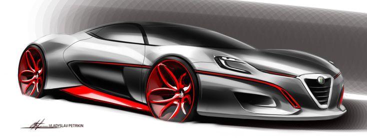 Sketch Day#11_Alfa #cardesign, #design, #automotivedesign, #transportdesign, #vehicledesign, #cardrawing, #sketch, #carsketch, #art, #wheels, #photoshop, #supercar, #alfaromeo, #Italy, #red, #grey
