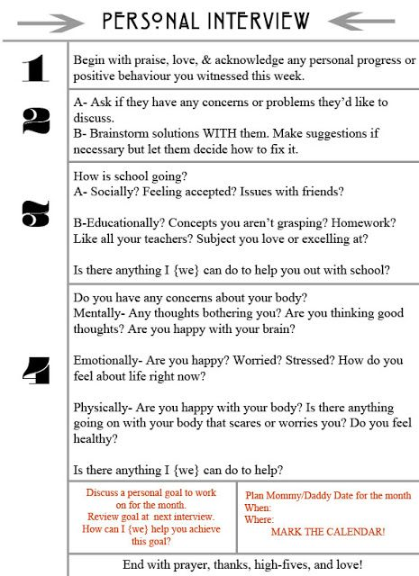 Printable questions to ask your child to find out how they are doing in their life progress.