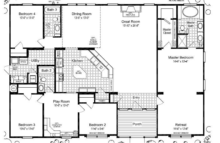 Triple wide mobile home floor plans las brisas floorplan for 4 bedroom mobile home floor plans