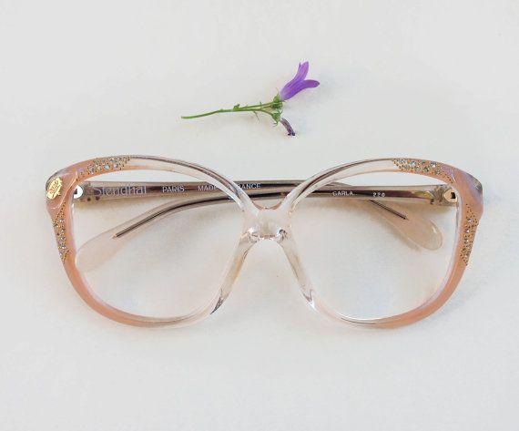 80s rhinestones eyeglasses / Vintage deadstock sunglasses / pale pink french frames / rare jeweled Eyewear / nos embellished peach glasses 80s rhinestones eyeglasses / Vintage deadstock by Skomoroki