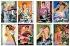 """CARNÉ AUTOADHESIVO. ALFREDO ROLDAN. """"La mujer y las flores""""  Fecha de emisión:28/07/2003 Procedimiento de Impresión: Calcografía y Offset Papel: Autoadhesivo, fosforescente Tamaño del sello: 24,5 x 35 mm.(verticales) Efectos en pliego:Sellos en carnet 8 Valor postal de los sellos: Tarifa A (1sello=carta normaliz Tirada: Ilimitada Dentado:13 3/4"""