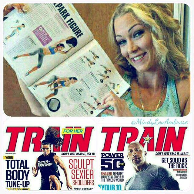 """Look for my spread in the June issue of Train For Her Magazine. . 💙 Warm n' fuzzies happened today when my dear friend @alejandra.valdes13 spotted our article in @trainforher fitness magazine! Alejandra is a certified personal trainer and co-wrote a medicine ball workout article with me based on my favourite strength and conditioning exercises. We are stoked to be featured in the @trainmag """"his and her"""" publication with @TheRock on one cover and @Amberdodzweit on the other. If you haven't…"""