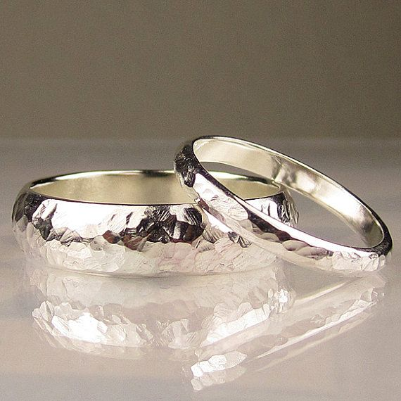 i love the simplicity of these wedding bands a big ol fat diamond - Silver Wedding Ring