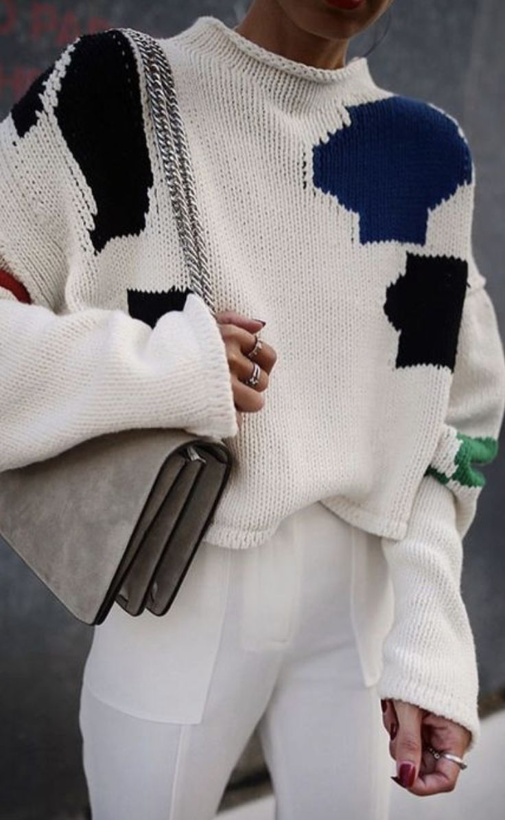patchwork sweaters + tailored pants