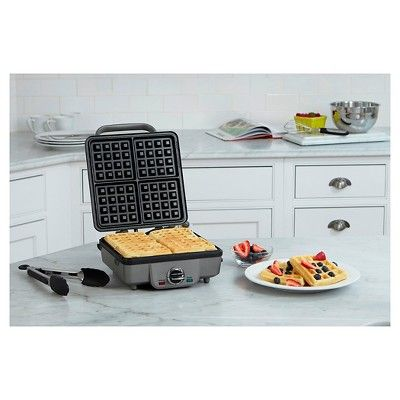 Cuisinart Breakfast Central 4 Slice Belgian Waffle and Pancake Maker - Stainless Steel Waf-300, Silver