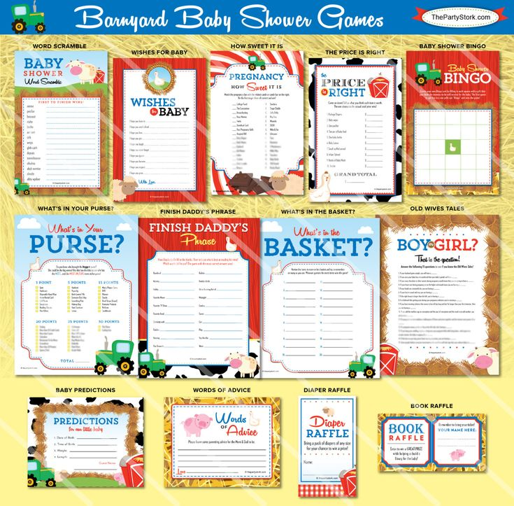 Barnyard Baby Shower Games by the Party Stork. Printable Farm Animal Game for Girl or Boy Shower. Listing is for ONE printable game. You Choose. You may select the game of your choice from the dropdown menu. Description and sizes of games are below. Coordinating invitation and