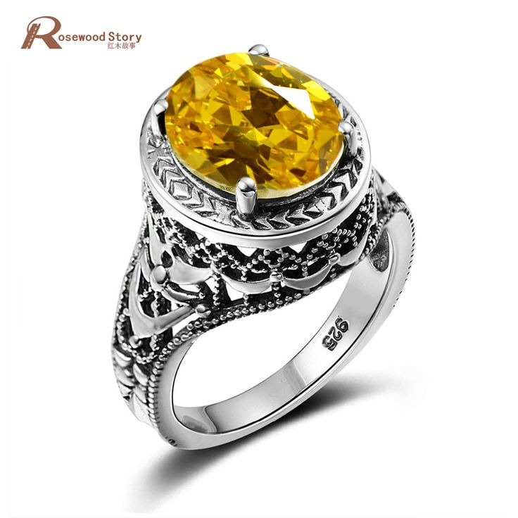Luxury Brand Women Bulgaria Ring Bohemia Yellow Stone Crystal Big Rings Vintage Solid Silver 925 Jewelry Wholesale Cheap Good