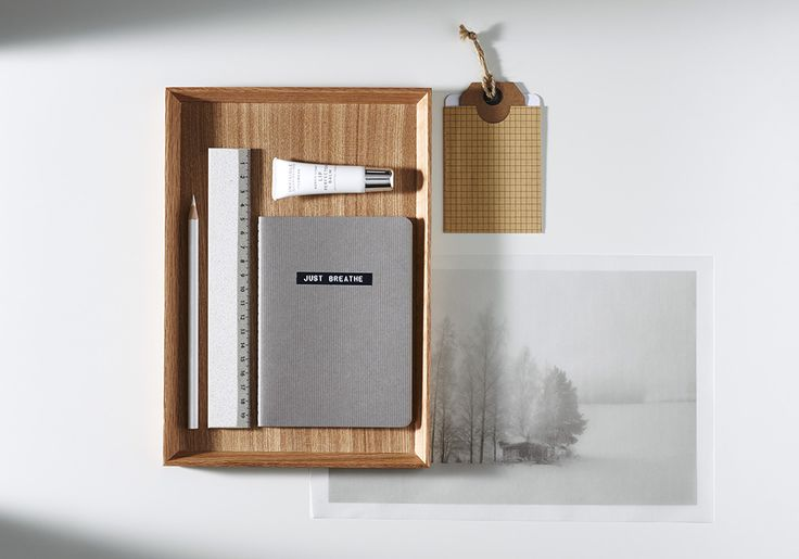 Deconstructing the Nordic Workspace: Attach a current moleskine, sketchbook or magazine to the wall rather than leaving it to take up your surface space. Keep it simple with a loop of leather and a nail for an understated display. Read more at: http://www.lumene.com/us/content/deconstructing-nordic-workspace