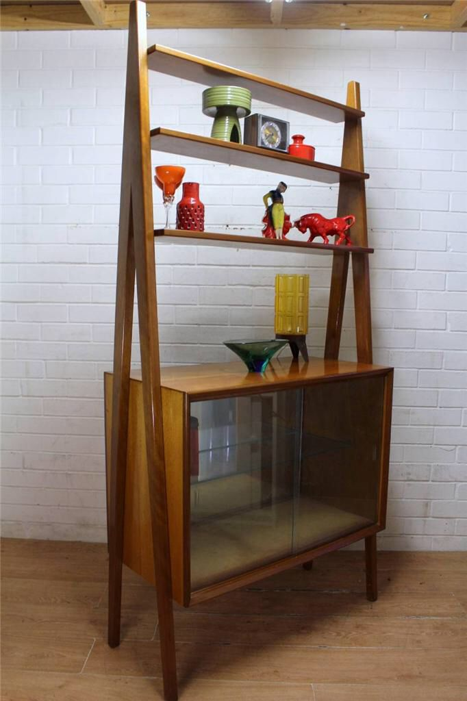 Teak room divider display cabinet mid century room for Divider cabinet living room