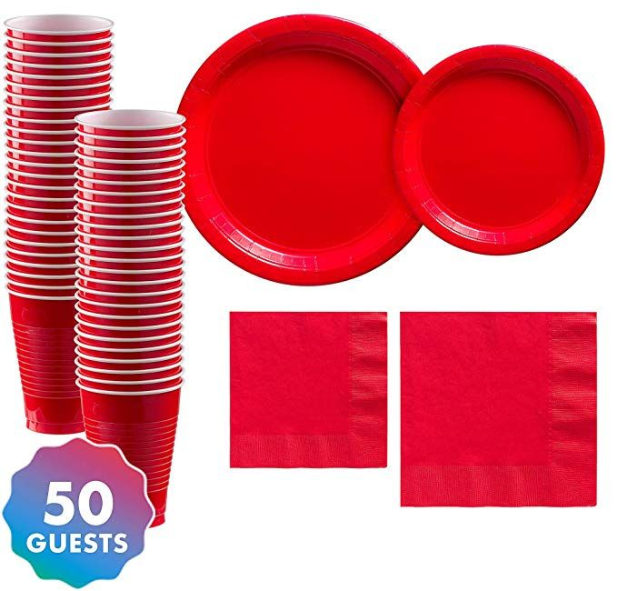 Paper Plates Cup Napkin Party Decoration Solid Disposable Tableware Supplies New