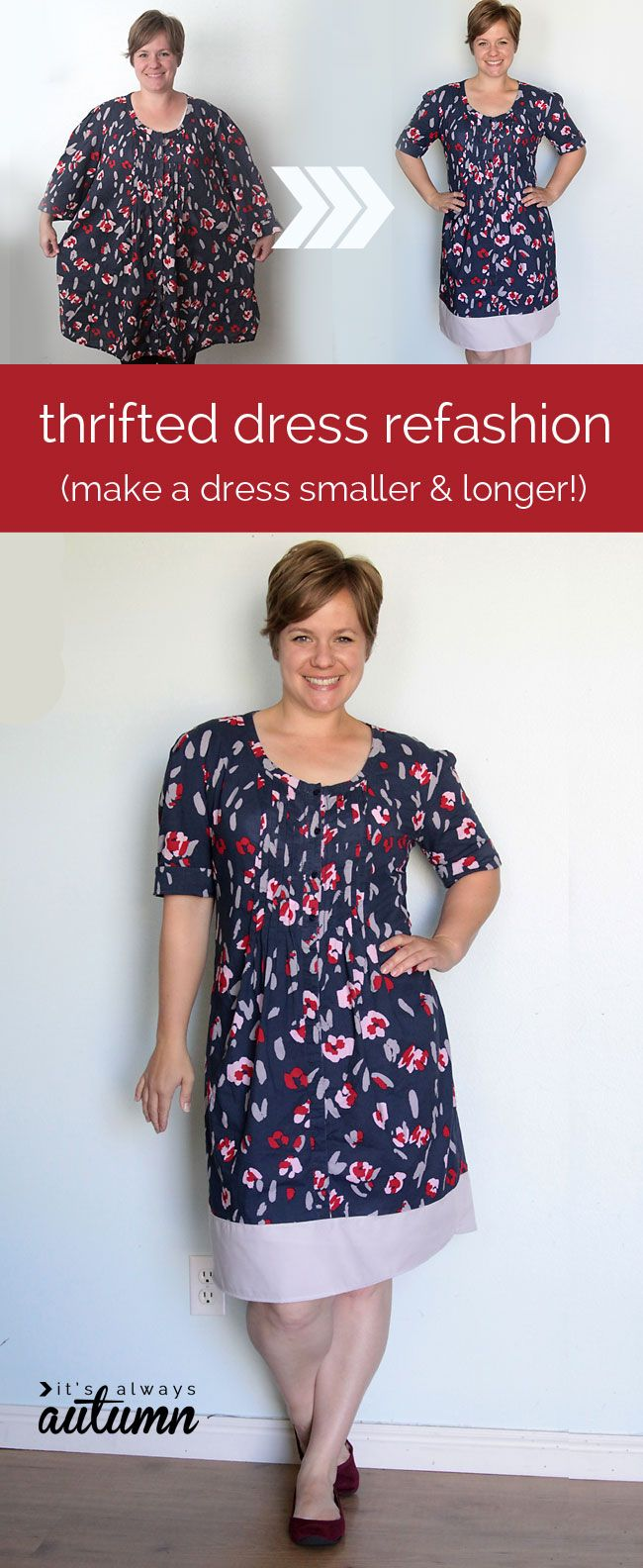 Have you ever found a great dress at a thrift store that's just too big? Find out how to tailor it to fit you with this easy tutorial!
