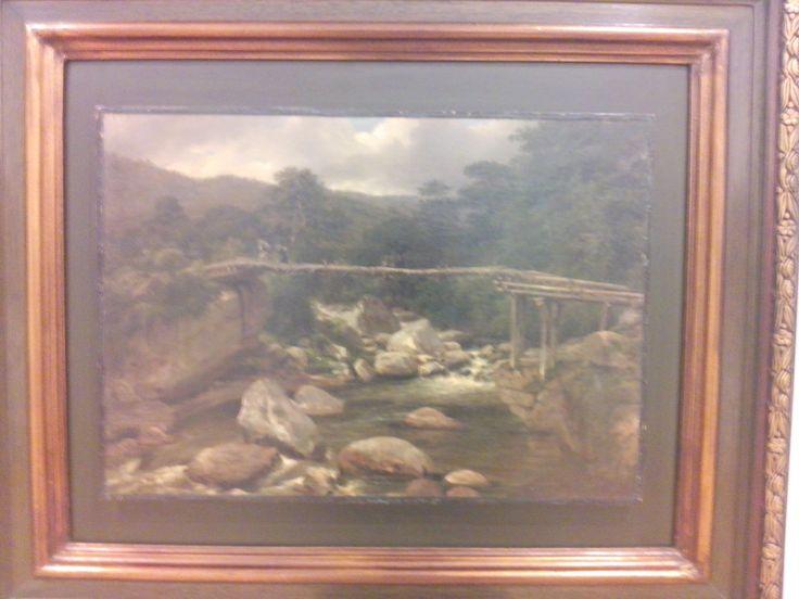 jean baptiste louis gros  paisaje con puente de madera  1842 oleo sobre papel adherido a lienzo