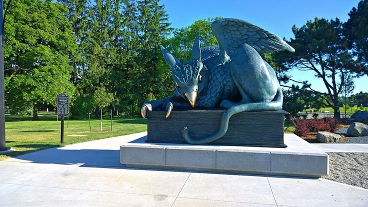 A Gryphon – the namesake of U of G sports teams -- is a mythical creature with the head, talons and wings of an eagle and the body of a lion.