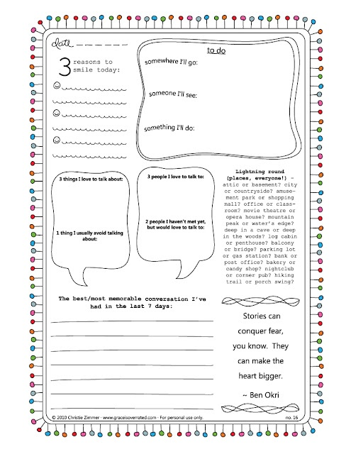 fill in the blank journal pages - printable
