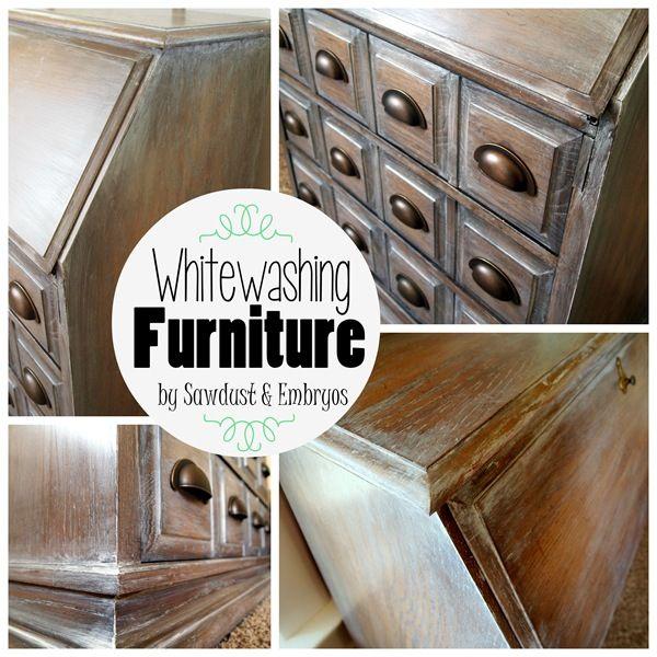 Secretary {Part 1} ~ Whitewash Glaze - Sawdust and Embryos (1part glaze, 1 part white paint, 1 part white primer)