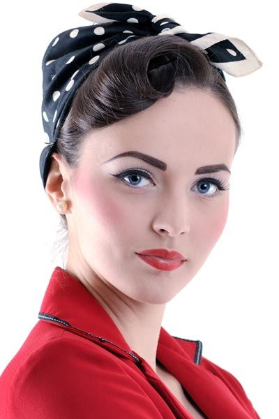 Vintage bandana hairstyles - pin-up girl, Rosie the Riveter, or rockabilly-inspired looks.