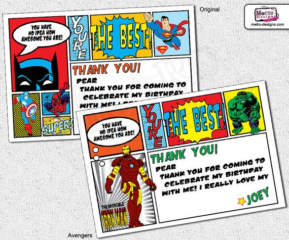 Super Hero Thank You Cards