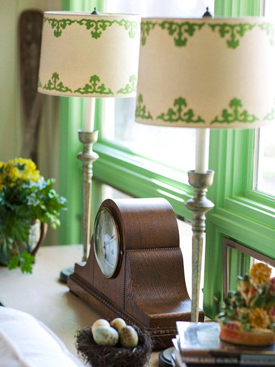 I like the stenciled lamp shades. I also like pairing two small lamps om the same table. I should do this on my dining room buffet I'm going to build next.