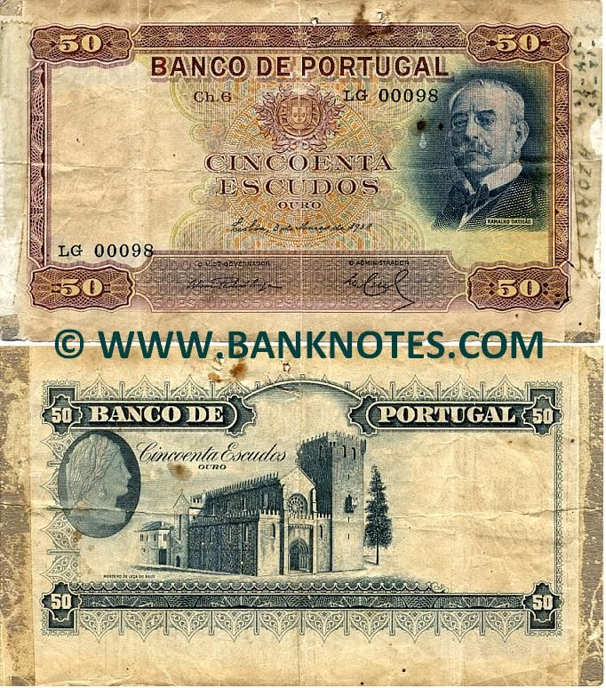 portugal currency | Portugal 50 Escudos 1938 - Portuguese Currency Bank Notes, European.
