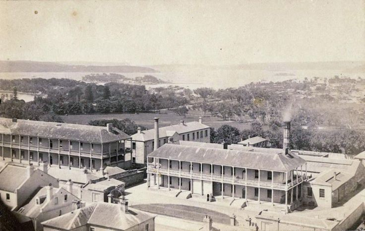 Panoramic view of Infirmary and Mint, Macquarie Street, Sydney c1870