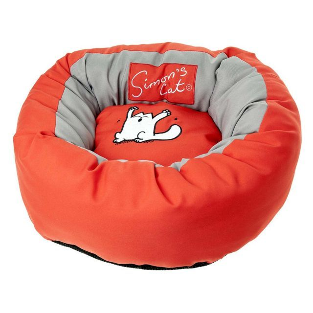 Simon's Cat Donut Cat Bed - Red / Grey - Diameter 46cm x H 17cm | Social Superstore