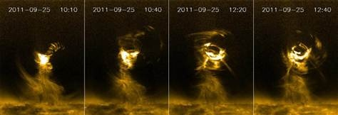 Monster solar tornadoes discovered  Tempests measure width of several Earths and swirl at speeds of up to 190,000 miles