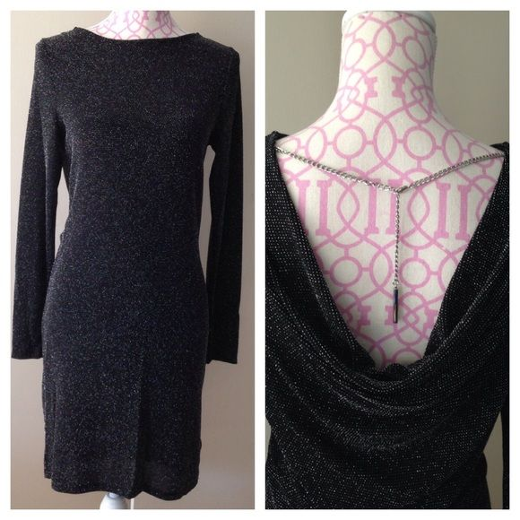 """Michael Kors black metallic evening dress NWT Elegant, delicate semi sheer black evening dress dotted with tiny silver sequins. An adjustable silver chain holds the open back drape (approx 8"""") in place. Approx 33"""" long, long sleeves with 19"""" arm inseam. Michael Kors Dresses Long Sleeve"""