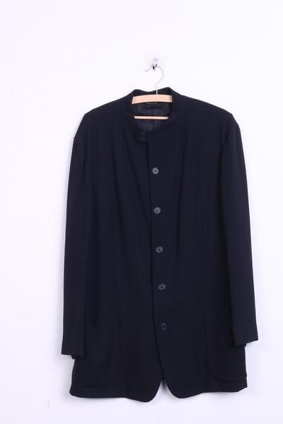 Emporio Armani Womens 52 2XL Blazer Top Suit Navy Stand-Up Collar Single Breasted - RetrospectClothes