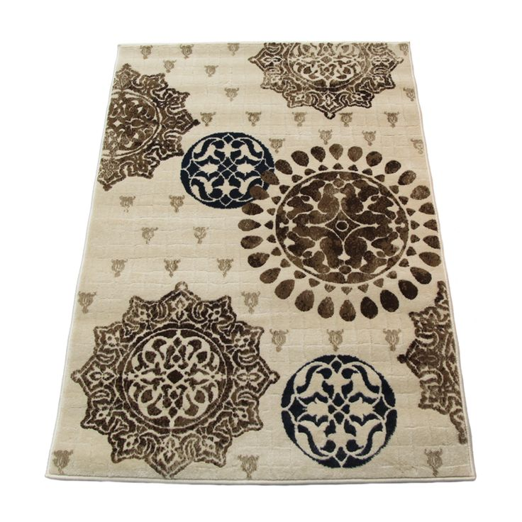 The Estate Collection 100 x 150cm Emblem Cream Heat Set Polypropylene Modena Rug