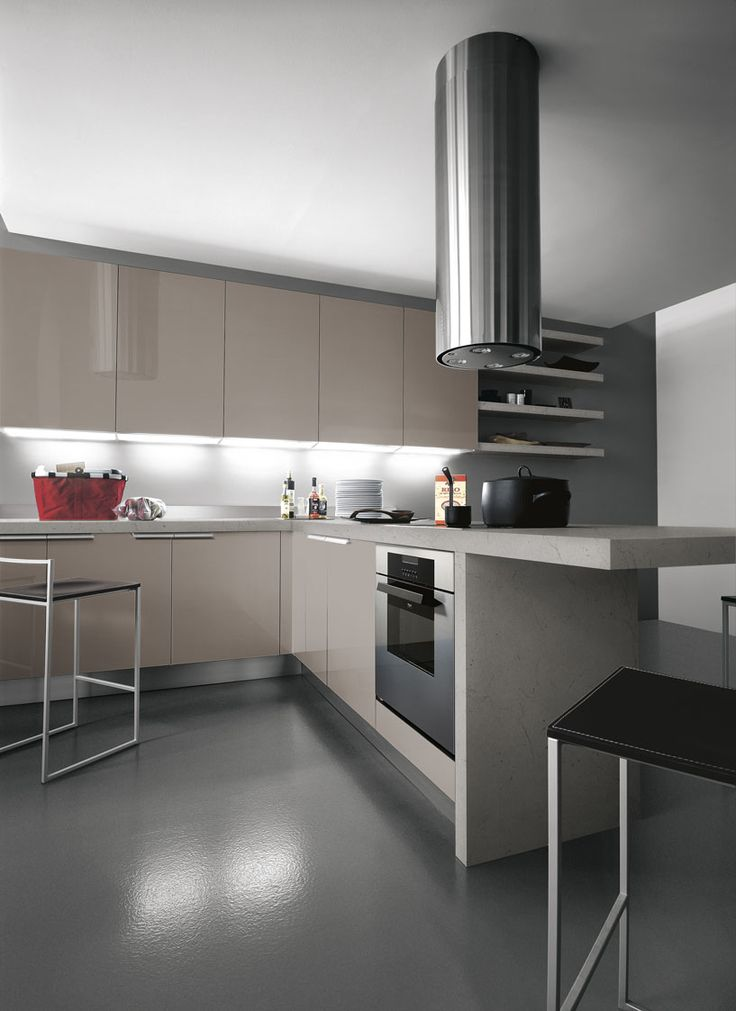 #Ariel in eco-gloss creta lucido crea un ambiente caldo e luminoso. Ariel in eco-gloss clay creates a warm and luminous environment. #Cesar #Cucine #Kitchens