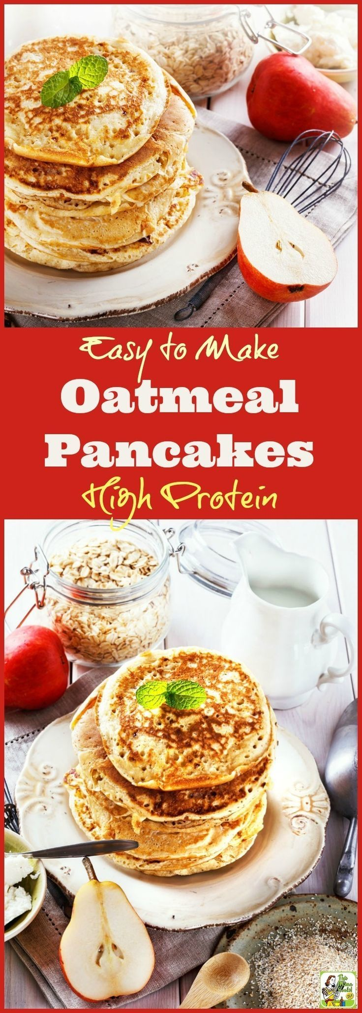 This oatmeal and Greek yogurt protein pancake recipe is easy to make and naturally gluten free. Click to learn how to get this recipe for these Easy to Make High Protein Oatmeal Pancakes!