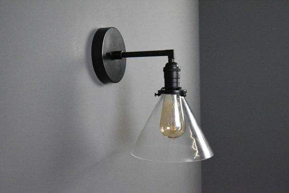 Industrial Wall Sconce Matte Black Mid Century Modern Wall