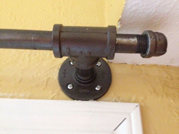 Curtain rod made from galvanized pipe and fittings