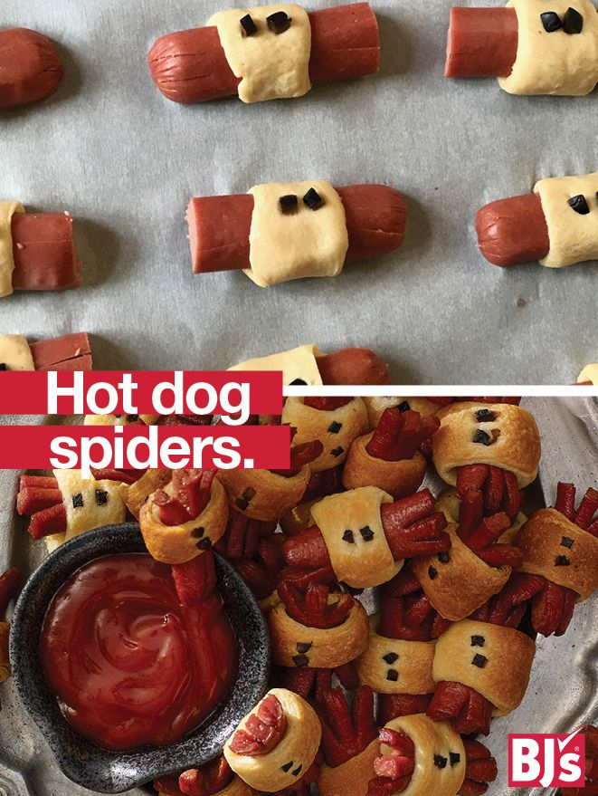 Easy Halloween Food: How to turn Applegate Farms Natural Beef Hot Dogs and biscuit dough into bite-sized bugs kids love. http://stocked.bjs.com/food/hot-dog-spiders