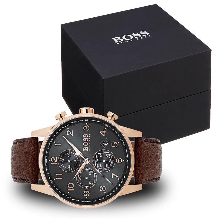 #Hugo #Boss 1513496 Herren-Armbanduhr mit braunem Lederarmband