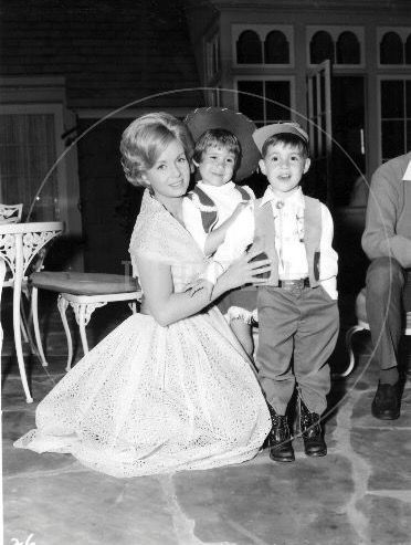 """Debbie Reynolds with her children Carrie Fisher and  Todd Fisher visiting on the set of """"My Six Loves"""" (1963)"""