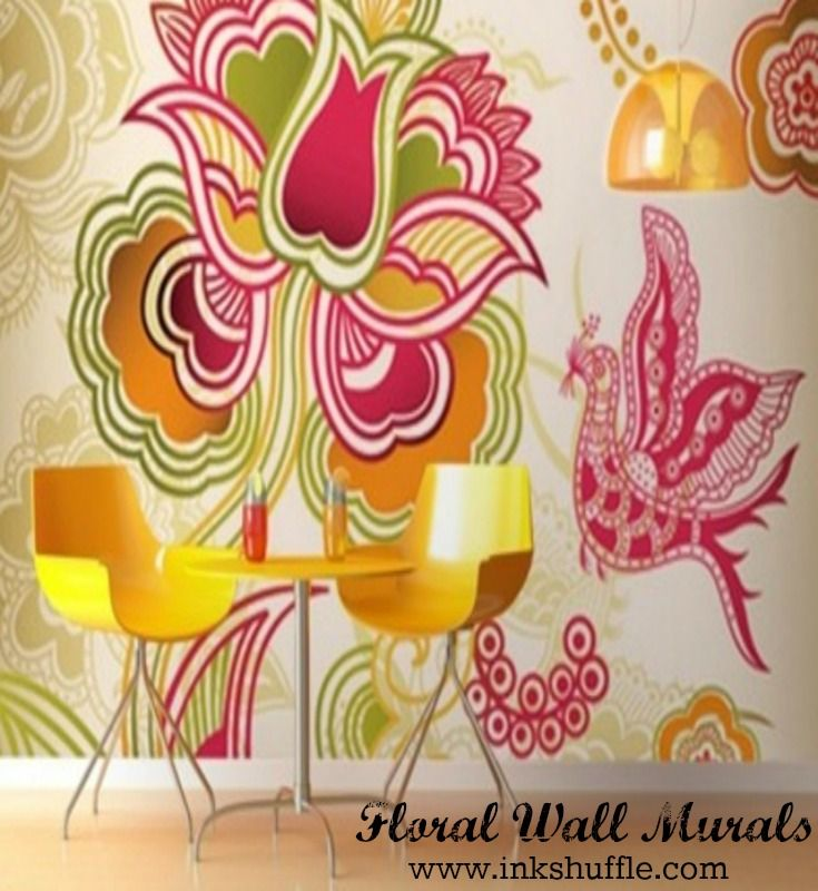 Floral wall decor perfect for spring and summer! #interiordesign #wallmural