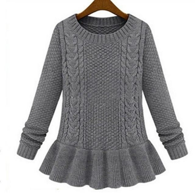 Cable Knit Sweater Winter Solid Color Long Sleeves O-Neck Ruffle Sweaters Pullover Jumper Pull