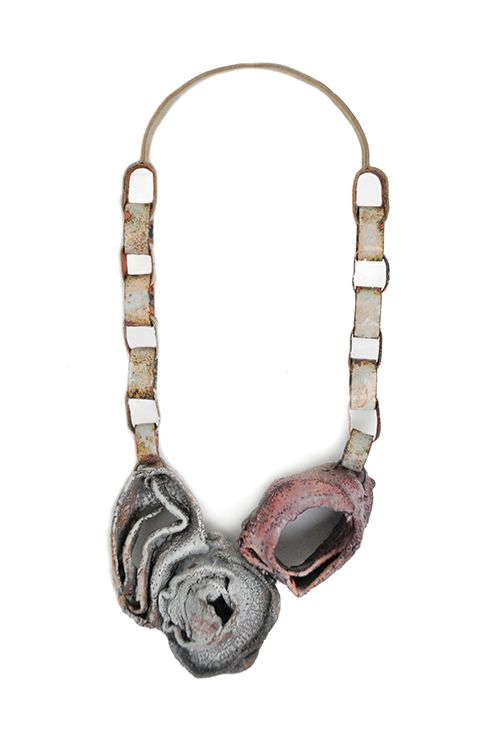Carolina Gimeno Necklace: Portable Pleasures – When intimacy become public, Socks, copper, enamel, leather, silver - Émaux at this Moment