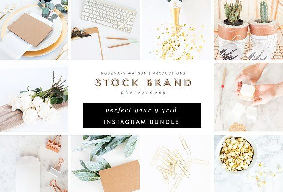 Green & Gold 9 Grid Instagram Bundle by RW | Productions on @creativemarket