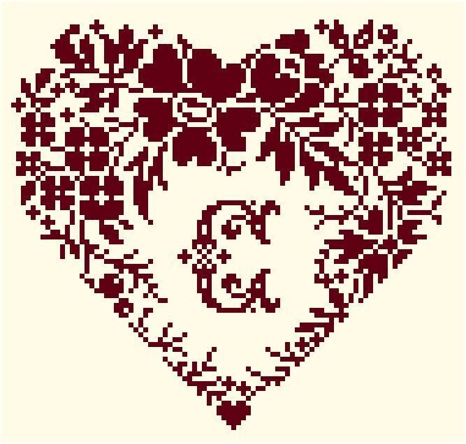 cross stitch heart with monograms