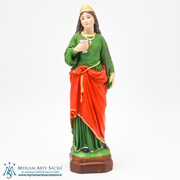 Statua Santa Lucia realizzata in resina. Dipinta interamente a mano. La statua è un prodotto made in Italy. Scatolata.  H 30 CM