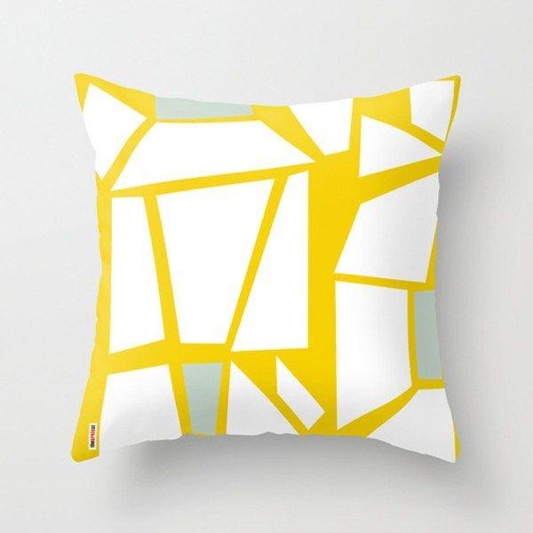 White and Yellow Geometric Throw Pillows