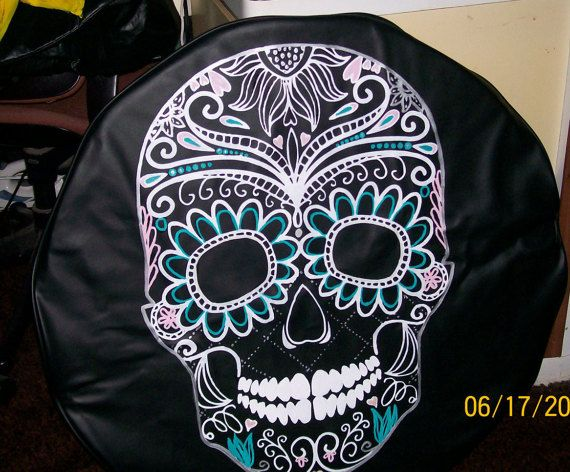 sugar skull tire cover.