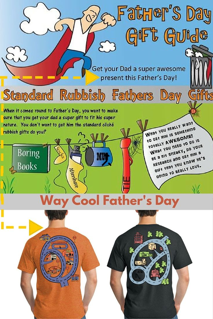 Cool father's day gift t-shirt with car track on back of dad's shirt.  If you are tired of the standard ties, books, etc... for father's day, we got your back!