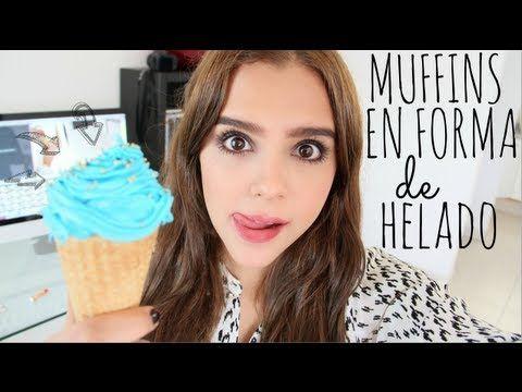 MUFFINS EN FORMA DE HELADO ♥ - Yuya - YouTube