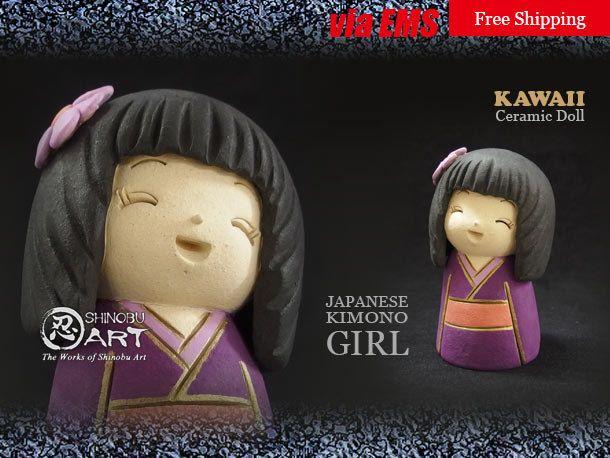 "Etsy のKawaii Ceramic Doll, Ceramic Japanese Kimono Girl ""SUMIRE"", Japanese Folk Dolls, Hand-built Ceramic Art, Free Shipping(ショップ名:ShinobuArakiArt)"